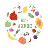Fresh vegetables. Vegetable logo healthy food shop eco organic meal vector frame stock illustration