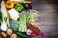 Fresh vegetables on a vintage wooden background Stock Photography