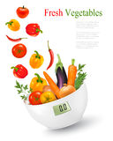 Fresh vegetables with in a weight scale. Diet concept. royalty free illustration