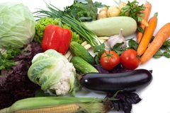 Fresh vegetables on white. A lot of fresh, different vegetables on white Royalty Free Stock Images