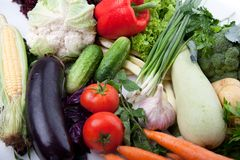Fresh vegetables on white. A lot of fresh, different vegetables on white Stock Photos