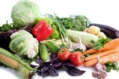 Fresh vegetables on white. A lot of fresh, different vegetables on white Royalty Free Stock Image