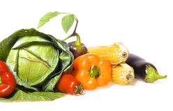 Fresh vegetables on white Royalty Free Stock Photos
