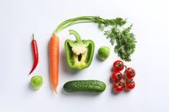 Fresh vegetables on white backgroun. D, top view stock photo