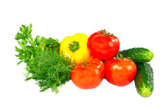 Fresh vegetables on a white background. Royalty Free Stock Photography