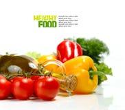 Fresh vegetables on the white background Stock Images