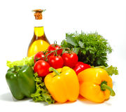 Fresh vegetables on the white background Stock Images