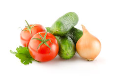Fresh Vegetables on white background Stock Photos