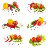 Fresh vegetables on a white background. Yellow pepper, red pepper on a white background. Fresh vegetables on a white background.Yellow pepper, red pepper on a royalty free stock image