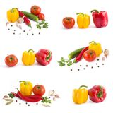 Fresh vegetables on a white background. Yellow pepper, red pepper on a white background stock image