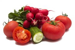 Fresh vegetables on white royalty free stock photo