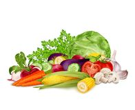 Fresh vegetables on white Royalty Free Stock Images