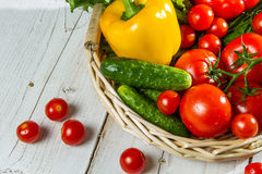 Fresh vegetables in a wicker basket Stock Photography