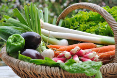 Fresh vegetables. In a wicker basket Royalty Free Stock Image