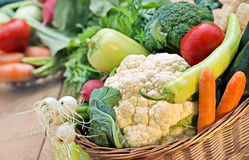 Fresh  vegetables in wicker basket - closeup Royalty Free Stock Images