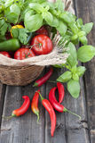 Fresh vegetables on wicker basket Royalty Free Stock Photos