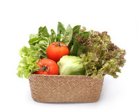 Fresh vegetables in wicker basket Stock Photography