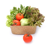 Fresh vegetables in wicker basket Stock Photos