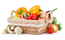 Fresh vegetables in wicker basket Royalty Free Stock Photos