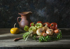 Fresh vegetables in wicker baskets Stock Images