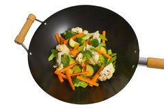 Fresh vegetables in wok stock photography