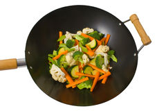 Fresh vegetables in wok Royalty Free Stock Images