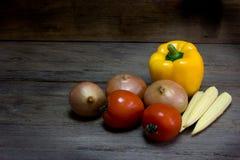 Fresh vegetables on wood background,still life Stock Photos
