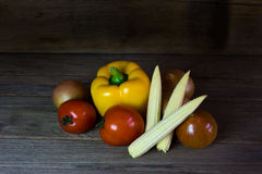 Fresh vegetables on wood background,still life Royalty Free Stock Images