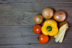 Fresh vegetables on wood background,still life Royalty Free Stock Image