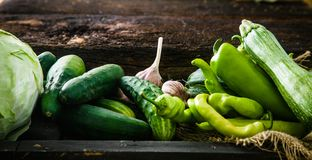 Fresh vegetables on wood royalty free stock images