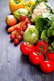 Fresh vegetables on wood. Some fresh vegetables on wood Royalty Free Stock Images
