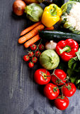 Fresh vegetables on wood Stock Photo
