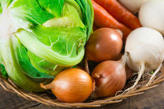 Fresh vegetables on wood table Stock Photo