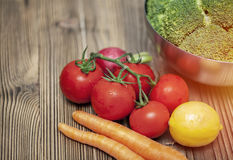 Fresh vegetables on wood table Royalty Free Stock Photo