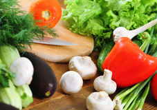 Fresh vegetables on the wooden background Royalty Free Stock Photography
