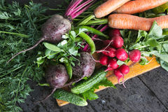 Fresh vegetables  on wooden background Royalty Free Stock Photography