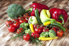 Fresh vegetables on wooden background Royalty Free Stock Images