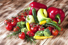 Fresh vegetables on wooden background Stock Photography