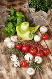Fresh vegetables on wooden background Royalty Free Stock Image