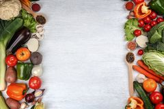 Fresh vegetables on wooden background. Top view Stock Photo