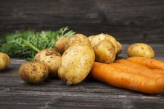 Fresh vegetables on wooden background Stock Images