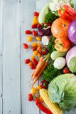 Fresh vegetables on a wooden background. Top view. Healthy food Royalty Free Stock Photography