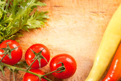 Fresh vegetables on wooden backgrounds Royalty Free Stock Photo