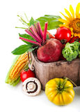 Fresh vegetables in wooden basket Royalty Free Stock Image