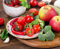Fresh vegetables on wooden board. Royalty Free Stock Photography