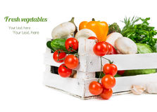 Fresh vegetables in a wooden box Stock Photo