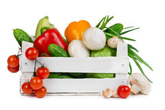 Fresh vegetables in a wooden box Royalty Free Stock Images