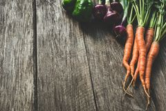 Fresh vegetables on wooden planks Royalty Free Stock Image
