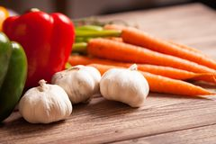 Fresh vegetables on a wooden table Royalty Free Stock Photography