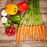 Fresh vegetables on a wooden table Royalty Free Stock Image